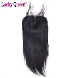 Image 1 - Lucky QueenเปรูตรงRemyมนุษย์ผม4x 4/5X5 HDปิดลูกไม้ด้วยผมเด็กPre pluckedสำหรับผู้หญิงสีดำสวิสลูกไม้