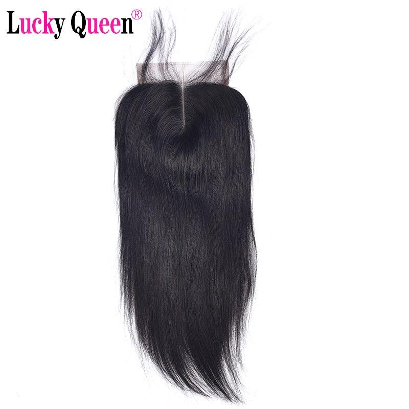 Lucky queen hair бразильский Прямо 4*4 человеческих волос Кружева закрытия с ребенком волос 130% плотность швейцарский шнурок не Волосы remy