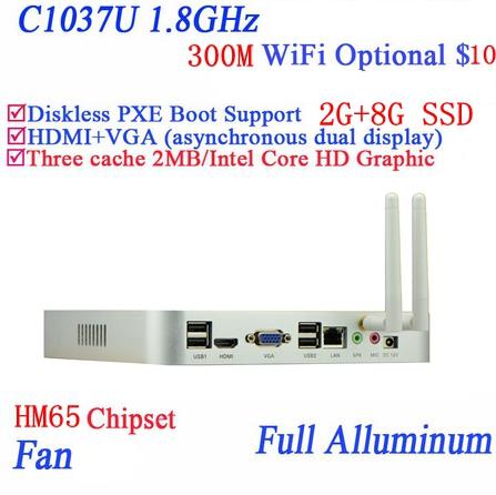 Real Power Faction  Celeron 1037U Aluminum Dual Core Living Room HTPC Mini Pc With USB *4 HDMI VGA RJ45 2G RAM 8G SSD