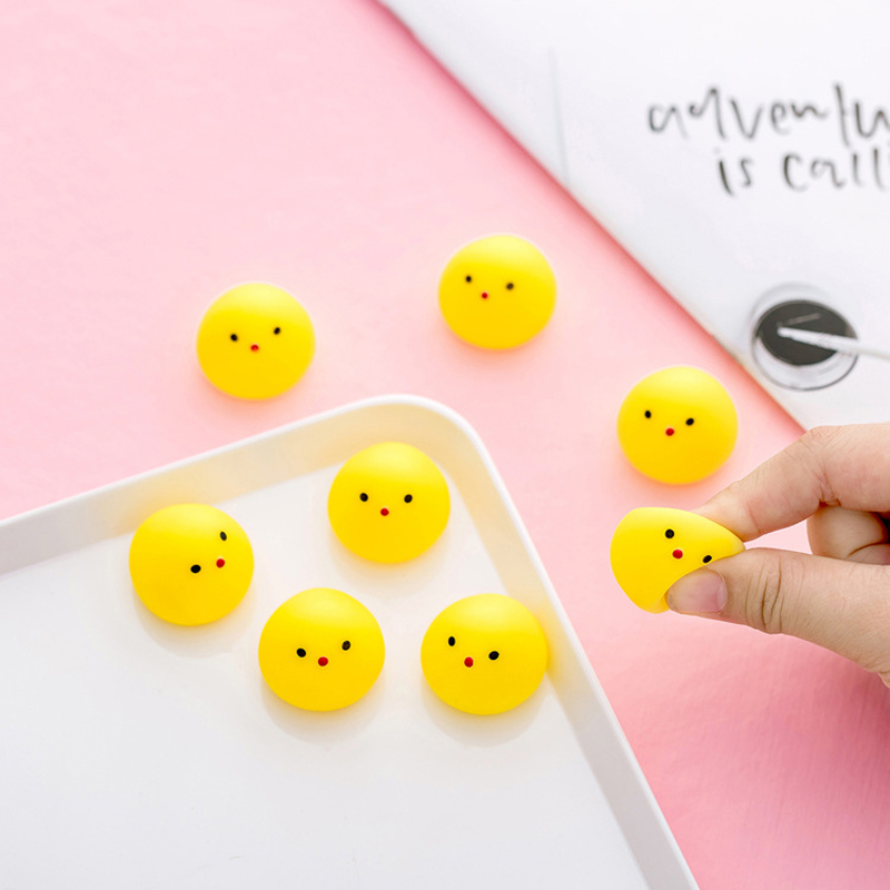 10pcs Mini Squishy Toy Yellow Chicken Anti-stress Cute Joke Fun Toys For Chlidren Squish Chick Can Make Voice Funny Squeeze T