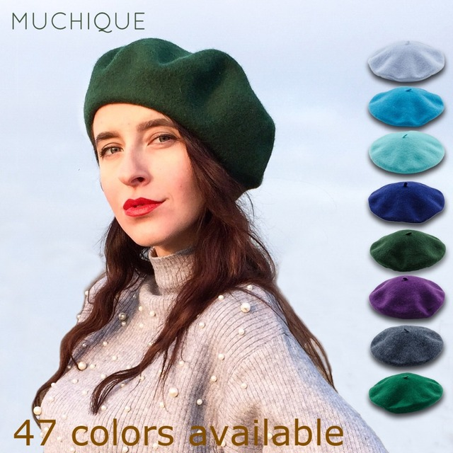 8acf9e0d3 US $12.38 28% OFF|Muchique French Wool Beret 2017 Fashion Classic Winter  Hat Warm Beret Hats Elegent Wool Hats 675001B-in Berets from Apparel ...