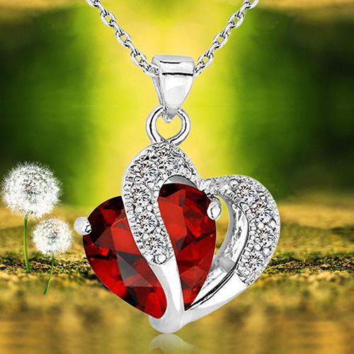 Women's Double Love Heart Pendant Alloy Chain Crystal Rhinestone Necklace Jewelry