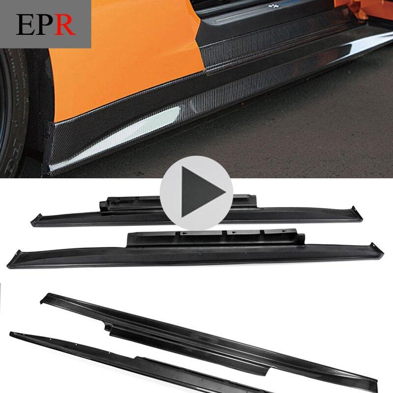 Car styling For R35 GTR GT R Zele Style Carbon Fiber Side Skirt Glossy Fibre ZL
