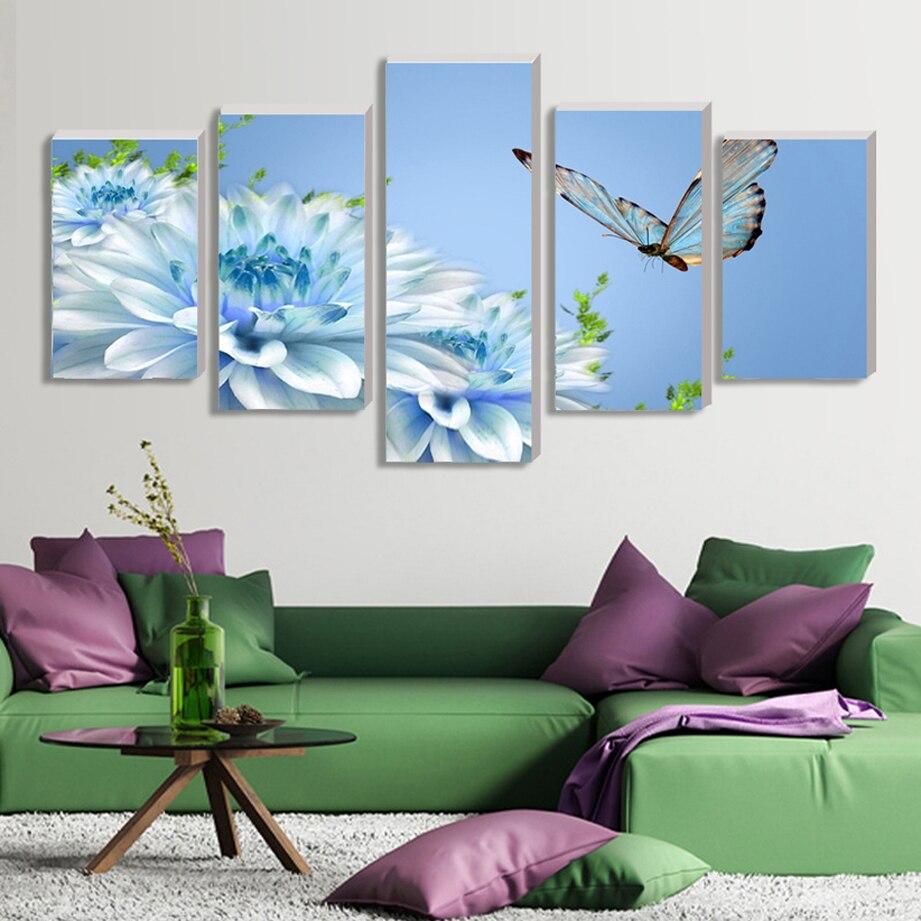 Obraz na plátně zpět do budoucnosti Wall Art Picture Modulární umělecké obrázky orchidejí nástěnné obrazy obývací pokoj cuadros decoracion 5ks