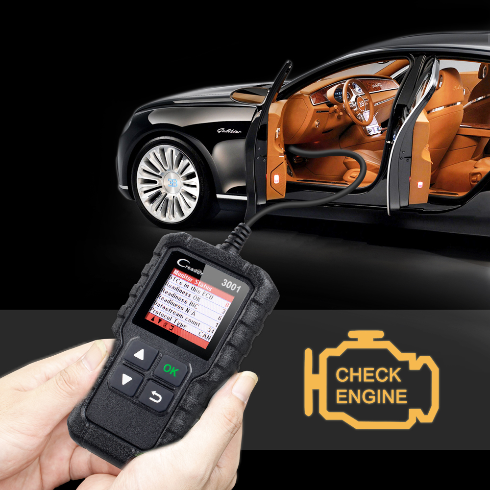 US $25 99 |LAUNCH Code Reader OBD2 EOBD Scan tool Creader 3001 Support all  10 test modes of the OBDII CR3001 OBD 2 Scanner pk OM123 AD310-in Code
