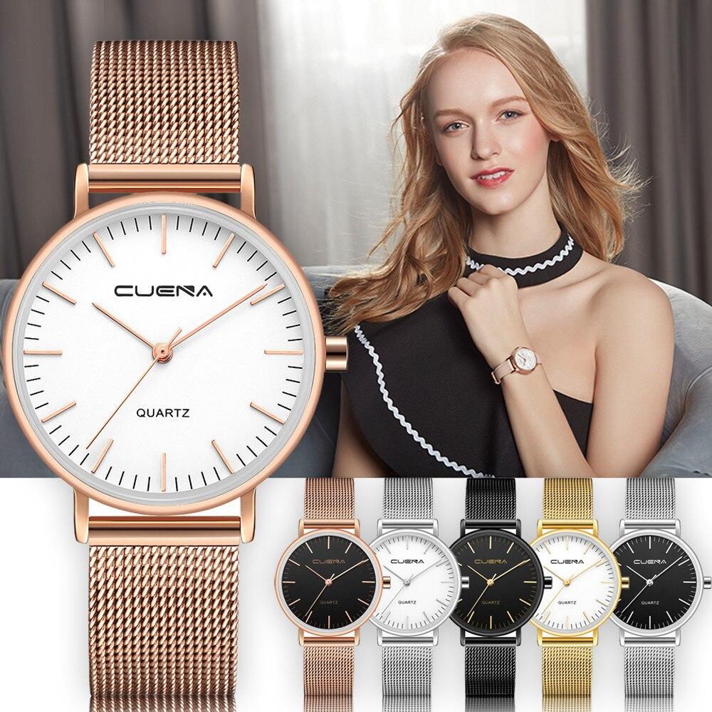 CUENA Women Wrist Watch Fashion Mesh Band Stainless Steel Analog Quartz Bracelet Woman Watches Minimalistic Watch Female