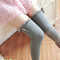 bow lace stockings girls 2016 Japenese preppy style over the knee socks autumn/winter sweet warm school long women cotton socks