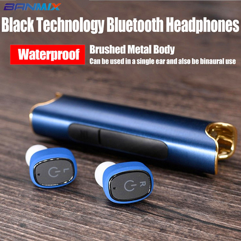 BANMIX Wireless Waterproof bluetooth earphone sport headset wireless in-ear Hifi cordless noise canceling handsfree Mobile phone remax t9 mini wireless bluetooth 4 1 earphone handsfree headset for iphone 7 samsung mobile phone driving car answer calls