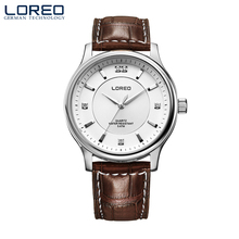 LOREO classic quartz watch fashion diamond sports leisure business water resistant corrosion resistant men's brown watch