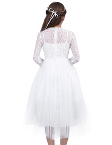 Image 2 - Cute White Lace Flower Girl Dress With Long Sleeves for Weddings Children Prom Gown Girls Princess First Communion Party Dresses