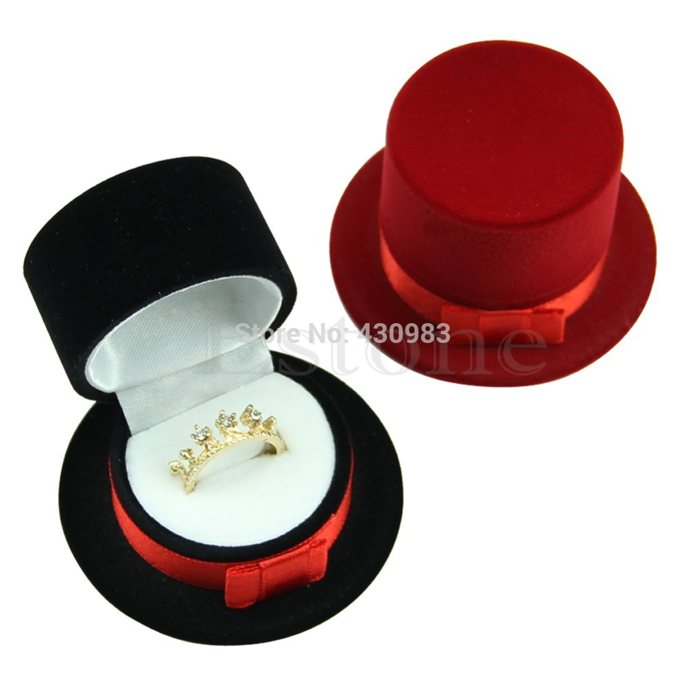 A40 New Cute Straw Hat Velvet Rings Jewelry Box Earring Ear Stud Case Gift Container