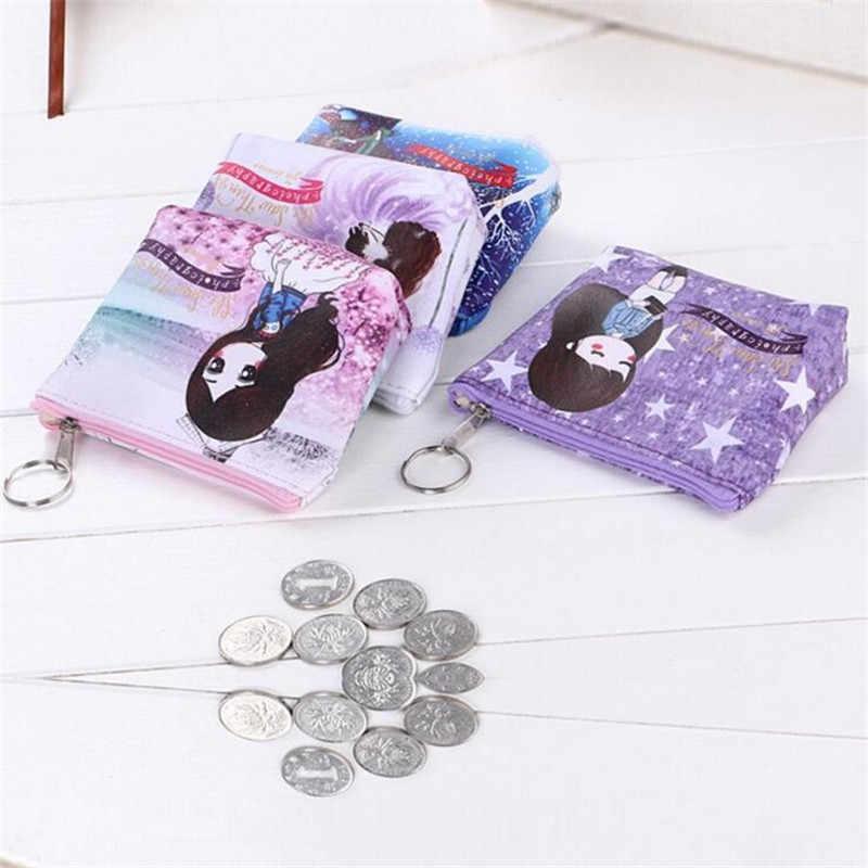 Imprimir Pequena Carteira Pequena Moeda Saco Bonito Crianças Menina PU de Couro Titular do Cartão bolsa de Moedas Com Zíper Carteira Chave Feminino Mini mudar Bolsa