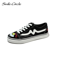 Smile Circle 2018 Spring Summer White Sneakers Women Ultra Soft Lace Up Casual Shoes Women Flat