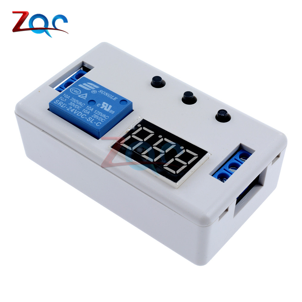 цена на Digital LED Display Time Delay Relay Module Board DC 24V Control Programmable Timer Switch Trigger Cycle Module With Case