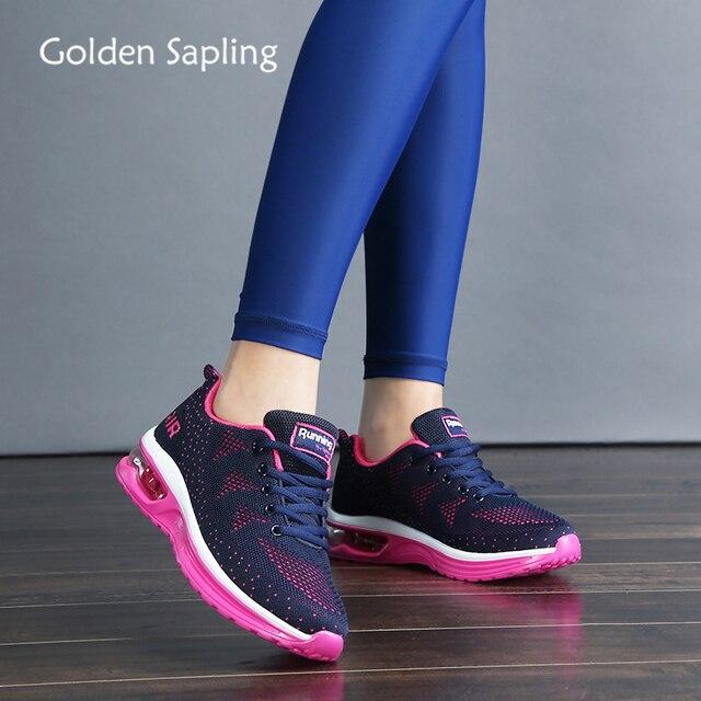 זהב שתיל ריצה באיכות גבוהה נעלי נשים לנשימה אוויר רשת לסרוג כרית נשים סניקרס קיץ חדש מאמן ספורט נעליים