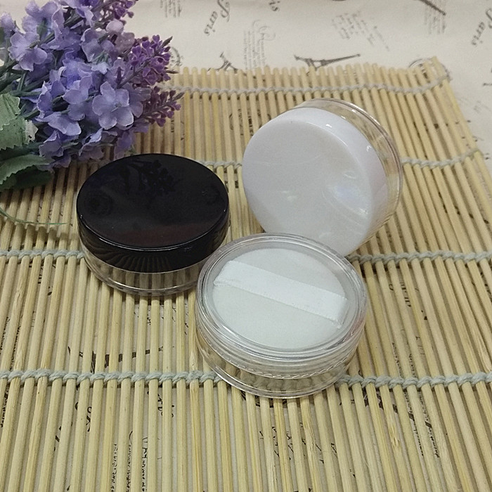 10/20/30/50/70pcs loose powder case with grid sifter & puff empty eyeshadow/power container cosmetic cream jar Makeup SubPackage bob cosmetic makeup powder w puff mirror ivory white 02