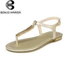 BONJOMARISA Grande Taille Femmes Vache En Cuir Chaussures D'été Sandales Chaussures Femme Sandales chaussure femme Sandalia Mujer sandalia feminina