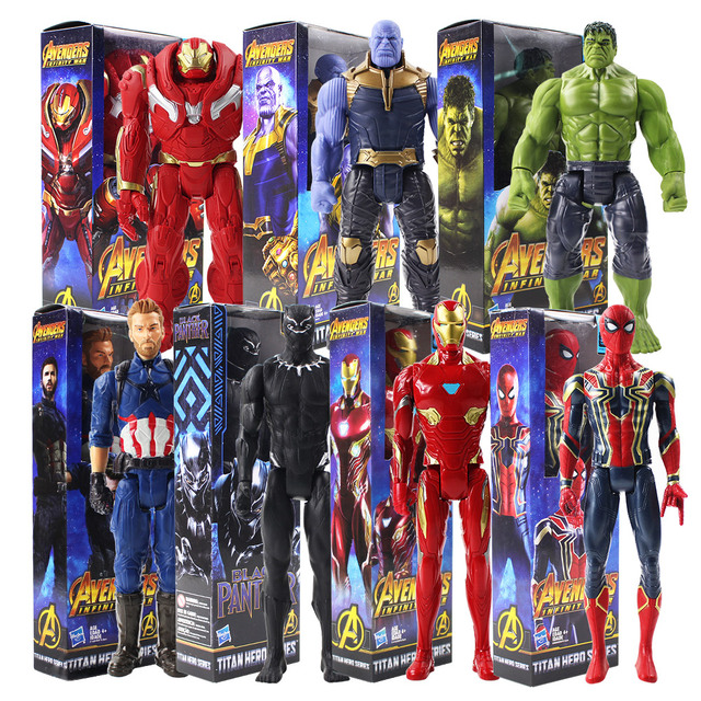 """29 ס""""מ נוקמי 3 טיטאן גיבור סדרת תאנסו ברזל עכביש קפטן אמריקה שחור פנתר ברזל איש באסטר PVC איור צעצוע"""