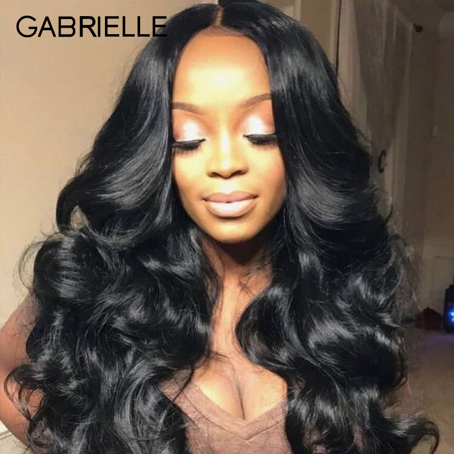 Gabrielle Peruvian Human Hair Weave Bundles with Frontal Body Wave Hair 3 Bundles with Lace Frontal 13x4 Natural Black Color