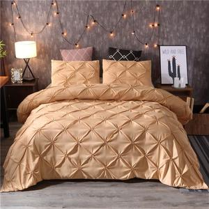 Image 2 - White Duvet Cover Set Pinch Pleat 2/3pcs Twin/Queen/King Size Bedclothes Bedding Sets Luxury Home Hotel Use(no filling no sheet)