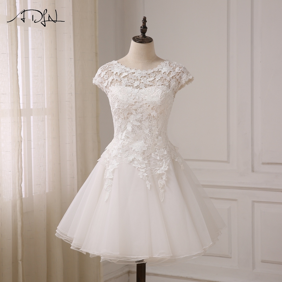ADLN Cheap Vintage Lace Wedding Dress Short Sleeves Scoop Neck A-line Short Beach Bridal Gowns Robe De Mariage New Arrival