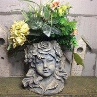 Nordic Goddess Head Portraits Resin Vase Sculpture Angel Cupid Succulent Plant Flower Pot Decoration Garden Vase Crafts X1921