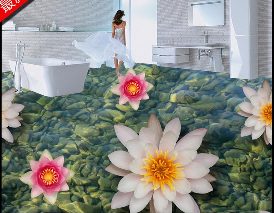 Высокое качество 3d Пол на заказ самоклеющиеся обои плавающий камень 3d пол фрески Ванная Кухня обои 3d пол фрески