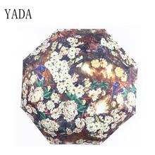 YADA Flower & bird oil painting Black Umbrella Rain Women uv High Quality For Womens Windproof Folding Umbrellas YS100