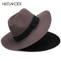 Klasyczny styl szydełka mężczyzna kapelusz panama czarna wełna słońce gambler dzianiny kapeluszy filcowych
