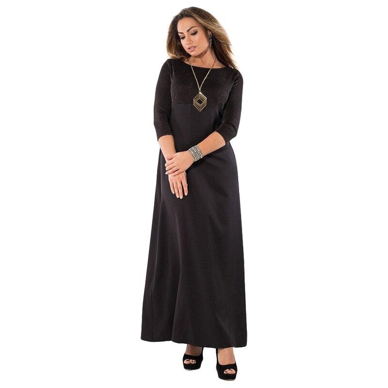 2018 Elegant Patchwork Spring Long Dress Women Half Sleeve Maxi Party Office Plus Size Dresses For Women Big Size 4xl 5xl 6xl