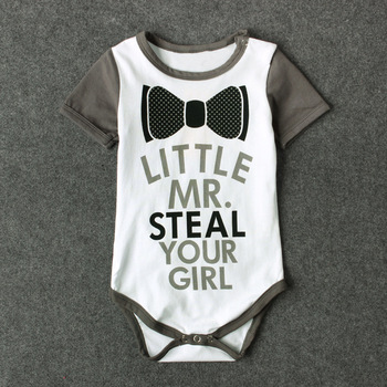 2017 Baby Girl Boy Clothes Newborn Baby Bodysuits Tiny Cottons Gray Short Sleeve Baby Onesie Funny little your girl baby clothes