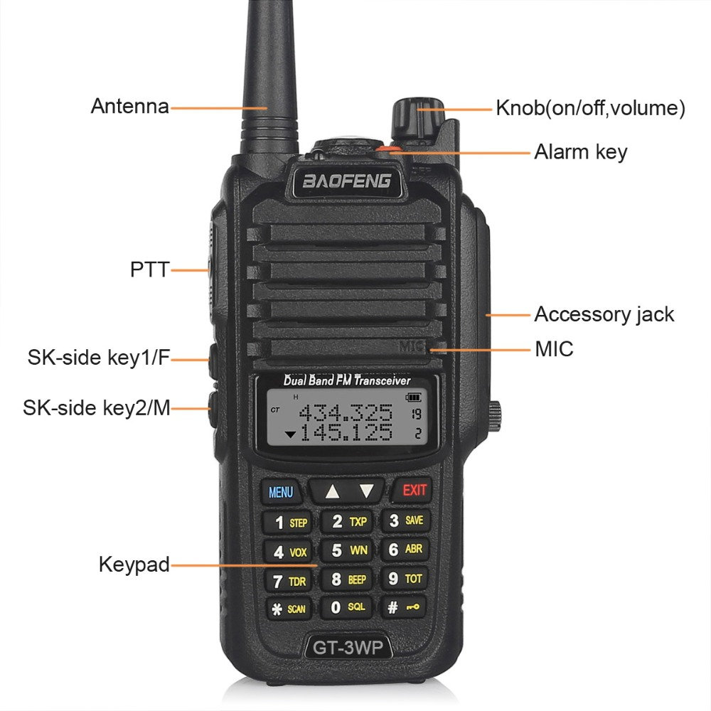 Baofeng GT 3WP IP67 Waterproof Dual Band 2M 70cm Ham Two way Radio Walkie Talkie with Programming Cable Car Charge Cable in Walkie Talkie from Cellphones Telecommunications
