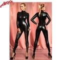 Sexy preto faux couro com zíper virilha aberta bodysuit, colarinho alto catwomen catsuit bodysuit apertado, coxa alta chave buraco bandagem jumpsuits