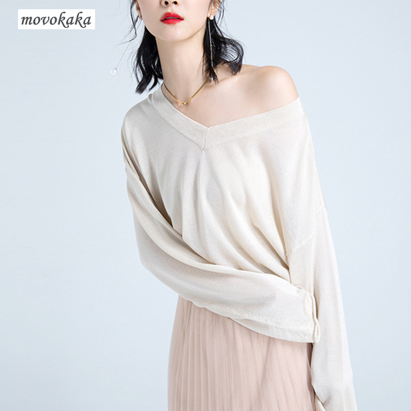 MOVOKAKA Sweaters New Wool Sweater Female Knitted Pullover Cashmere Sweater Women Loose Lazy Sweaters Women V-neck Free Shipping