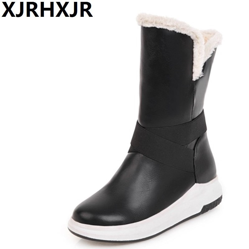XJRHXJR Autumn Winter Fur Boots Women Platform Mid-calf Snow Boots Round Toe Fashion Hidden Heels Waterproof Plush Warm Shoe superstar cow suede tassel leather boots platform zipper med heels rivets snow boots round toe mid calf boots for women l2f7