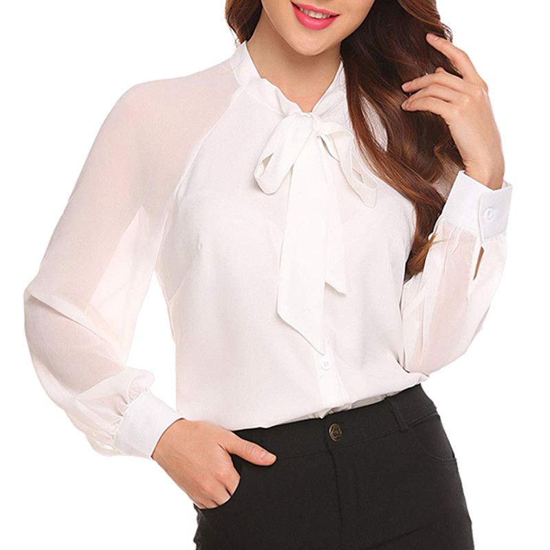 New Fashion Ladies   blouse     shirt   2018 Casual women Long sleeve lace up Tops OL offical lady solid color chiffon   shirts