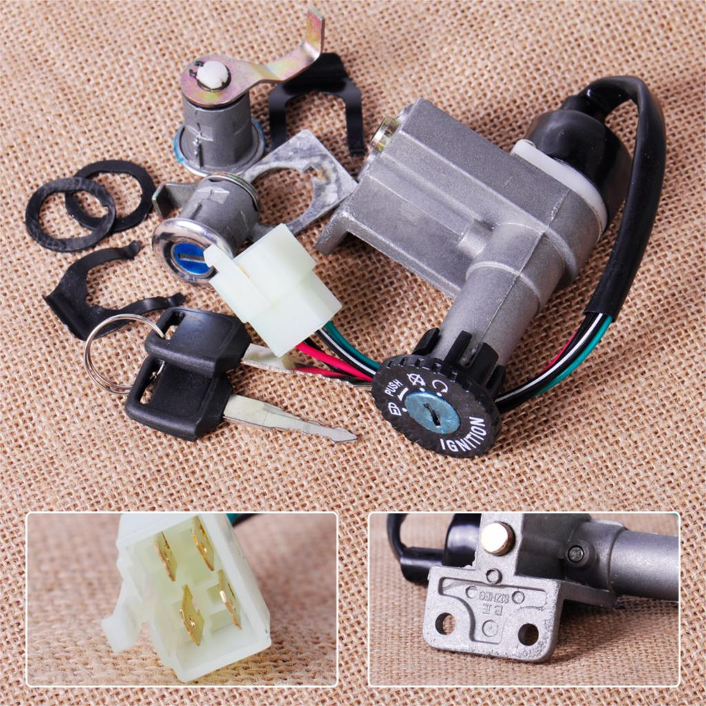 CITALL 4pin Ignition Key Switch Lock Toolbox Cushion Lock for Chinese GY6 50cc 125cc 150cc 250cc ATV Jonway Roketa Moped Scooter