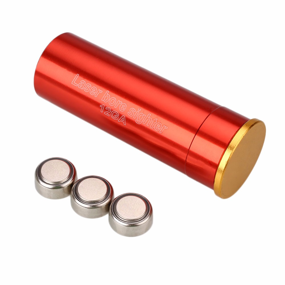 Tactical 12GA Red Dot Laser Sight Bore Sighter Boresighter With 3 X Batteries For Rifles Hunting