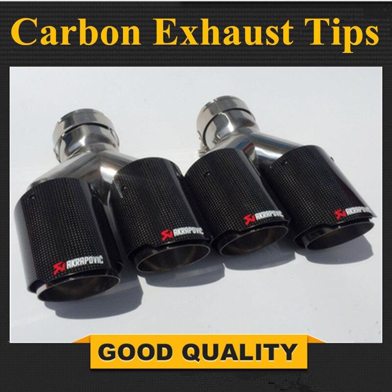 Одна пара Y Модель Akrapovic углерода исчерпывает двойной конец советы для BMW BENZ AUDI VW выхлопных двойной глушитель трубы хвост советы