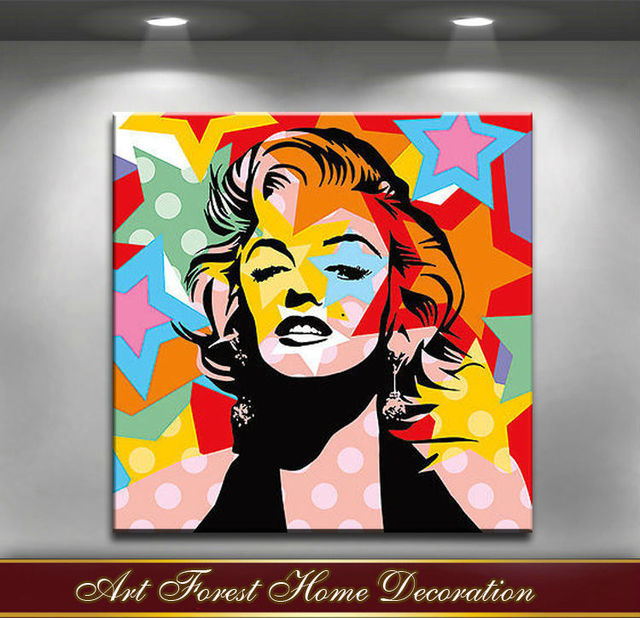 Free Shipping Highest Quality Monroe Pop Art Oil Painting On Canvas Abstract Famous Film People Wall