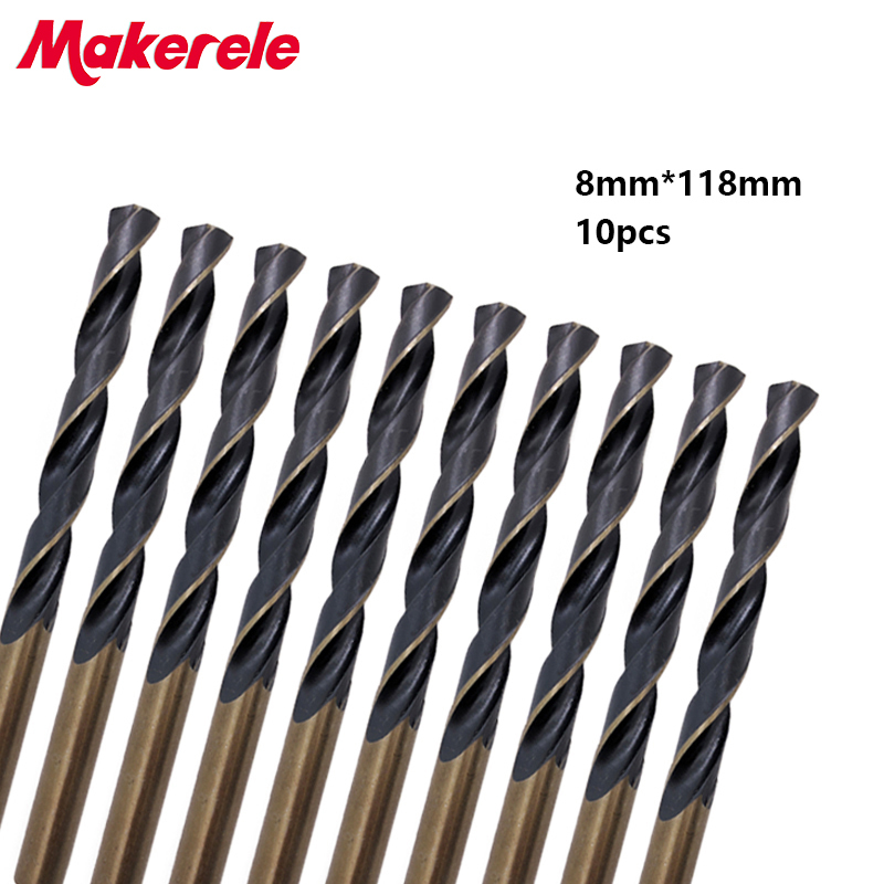 Hot 10pcs/box 8.0mm Straight Shank HSS/High Speed Steel Twist Drill Bit Woodworking Tool For Metal 1 2 shank reduced shank hss twist drill bit 13mm to 40mm blade for bore machining black high quality hss material