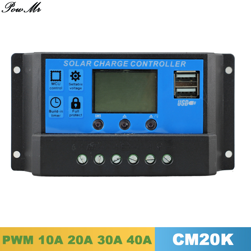 Solar Panel Charge Controller 12V/24V Auto Big LCD 10A 20A 30A 40A PWM Solar Regulator with Load Light Control for Home Lighting 20a pwm duo battery solar panel charge controller regulator 12v 24v auto dual battery solar controller