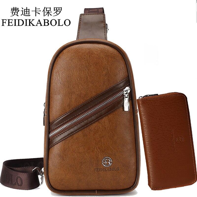 FEIDIKABOLO Brand Bag Men Chest Pack Retro Single Strap Back Bag Split Leather Men Crossbody Bags Male Shoulder Travel chest bag
