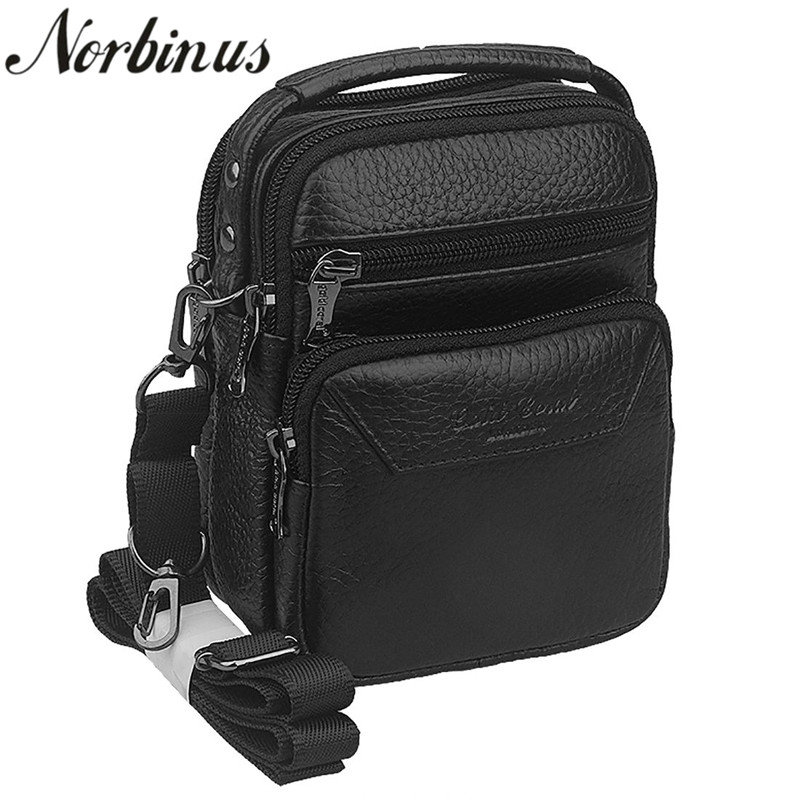 Norbinus Genuine Leather Messenger Shoulder Bag Tote Men Hip Bum Belt Cell Phone Case Purse Fanny Waist Pack Business Handbag men vintage crazy horse genuine leather fanny waist pack bag mobile phone case coin purse belt hip bum messenger shoulder bags