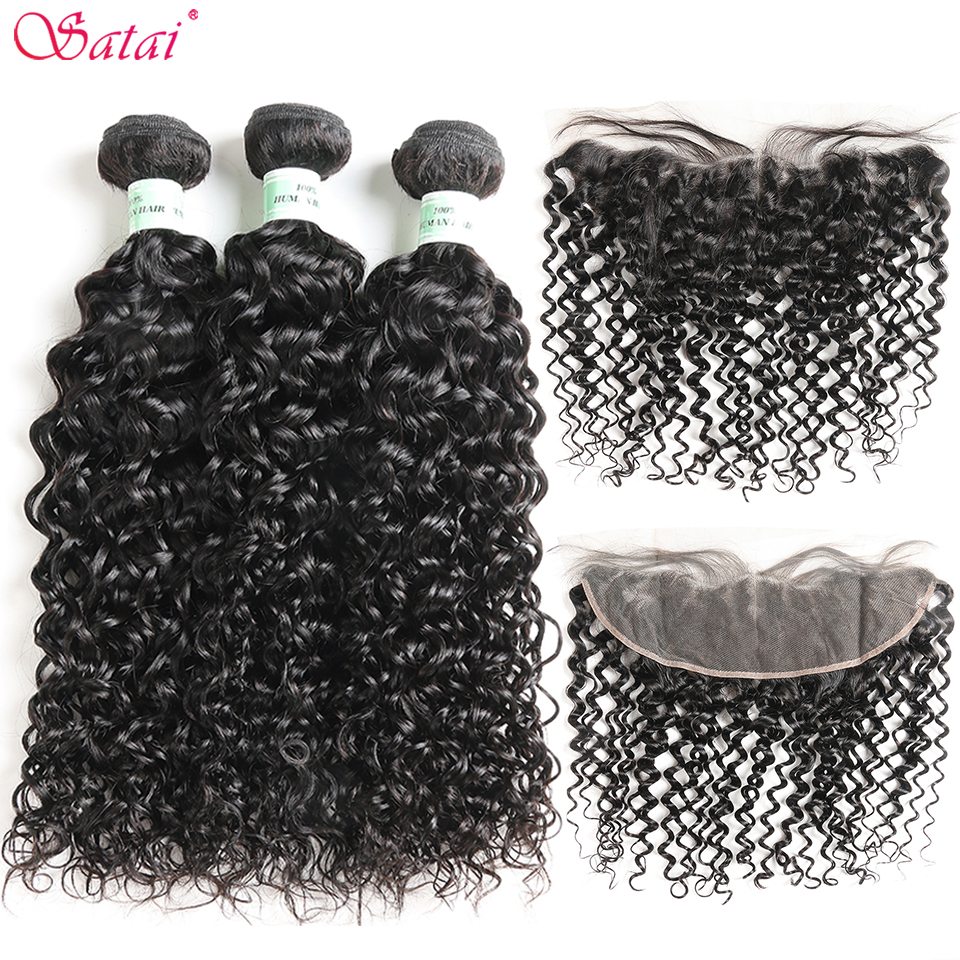 Satai Brazilian Hair Water Wave 3 Bundles With Frontal 100 Human Hair Bundles With Frontal Non