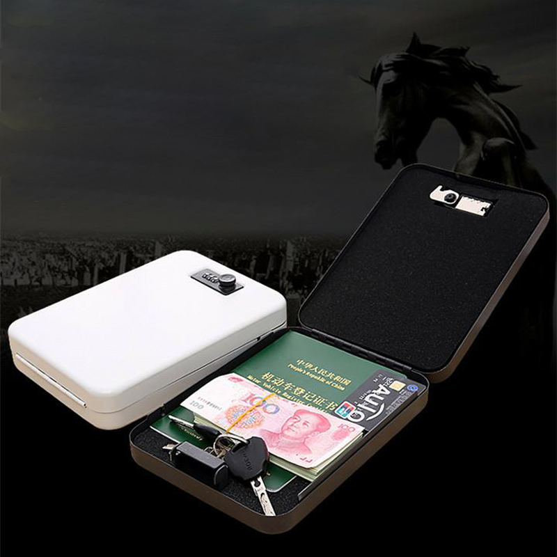 Password Safe Portable Cold Rolled Steel Car Auto Safe Pistol Valuables Wallet Jewelry Storage Box Safe Deposit Box Safe DHZ011