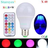 Бесплатная доставка 40 шт. E27 10 Вт RGB + W Светодиодный лампочки RGB белый светодиодный настольная лампа светильник droplight освещение с пульта диста...