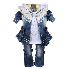 three Pieces Baby Girl Cowboy Jacket+Pants+Polo Shirt Kids Denim Clothes Sets Newborn Jeans for Toddler Girls Juicarse Clothing Set