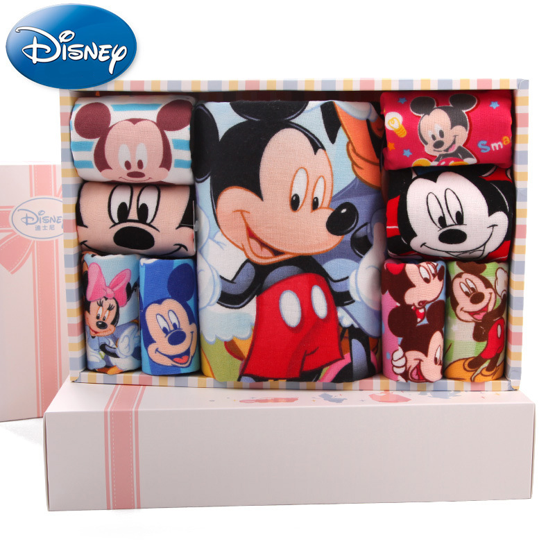 Disney Minnie Mickey Towel Towel Gift Box Cotton gauze Child towel Handkerchief Saliva towel 34.5*24*6cm