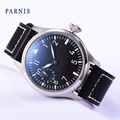 Fashion Watches Male 46mm Parnis 6498 Hand Winding Movement Black Dial White Luminous Numbers Men Watch